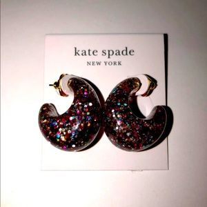Kate Spade Huggie Hoop Glitter Earrings NWT